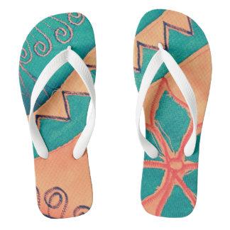 "Artsy ""two pair of"" SIRAdesign Flip Flops"