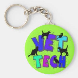 Artsy Vet Tech Gifts, Unique artist drawn design Basic Round Button Keychain