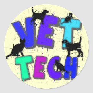 Artsy Vet Tech Gifts, Unique artist drawn design Classic Round Sticker