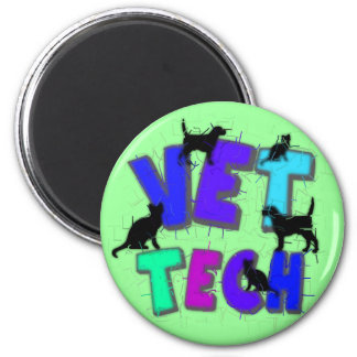 Artsy Vet Tech Gifts, Unique artist drawn design Magnet