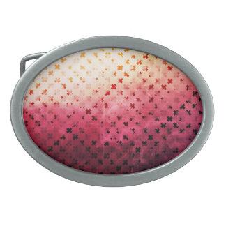 Artsy Vintage Pink Grunge Floral Cross Pattern Art Oval Belt Buckle