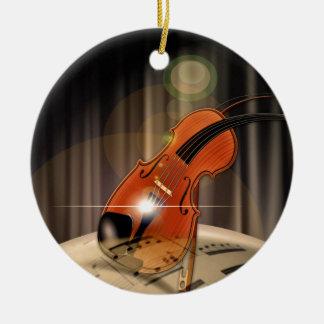 Artsy Violin Music Ceramic Ornament