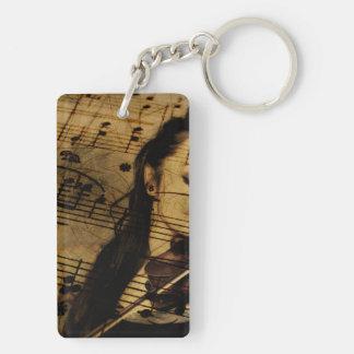 Artsy Violin Music Double-Sided Rectangular Acrylic Keychain