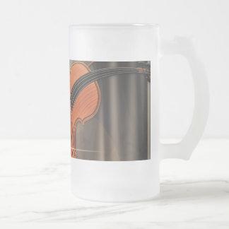 Artsy Violin Music Frosted Glass Beer Mug