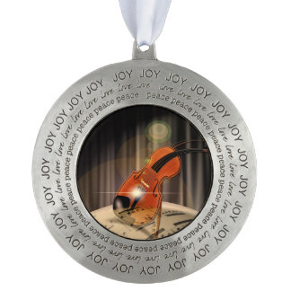 Artsy Violin Music Pewter Ornament