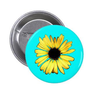 Artsy Yellow Gerbera Daisy 2 Inch Round Button
