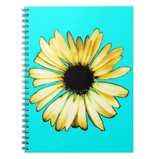 Artsy Yellow Gerbera Daisy Spiral Note Book