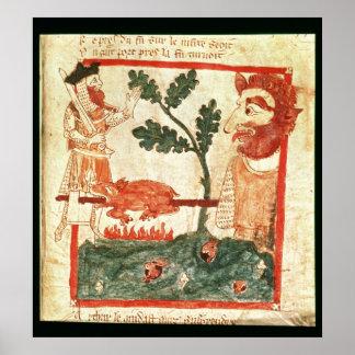 Arturo resuelve la asación gigante un cerdo en a póster