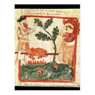 Arturo resuelve la asación gigante un cerdo en a tarjetas postales