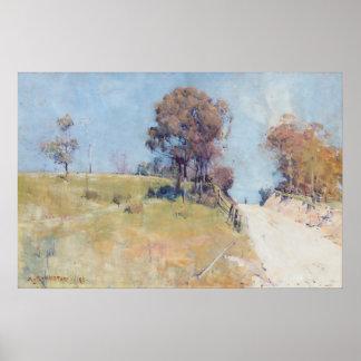 Arturo Streeton - luz del sol (corte en un camino  Posters