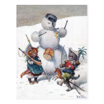 Arturo Thiele - gatitos y el muñeco de nieve Tarjeta Postal