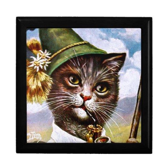 Arturo Thiele - gato bávaro de las montañas Joyero Cuadrado Grande