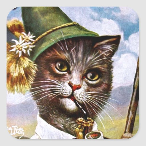 Arturo Thiele - gato bávaro de las montañas Calcomania Cuadradas Personalizadas