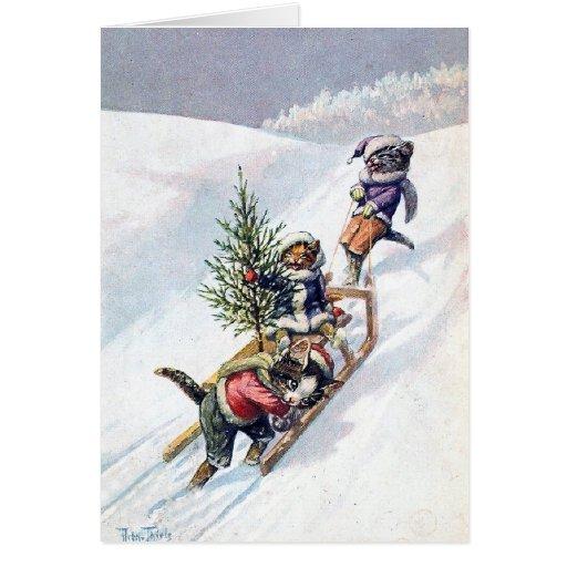 Arturo Thiele - los gatos traen a casa un árbol de Felicitacion