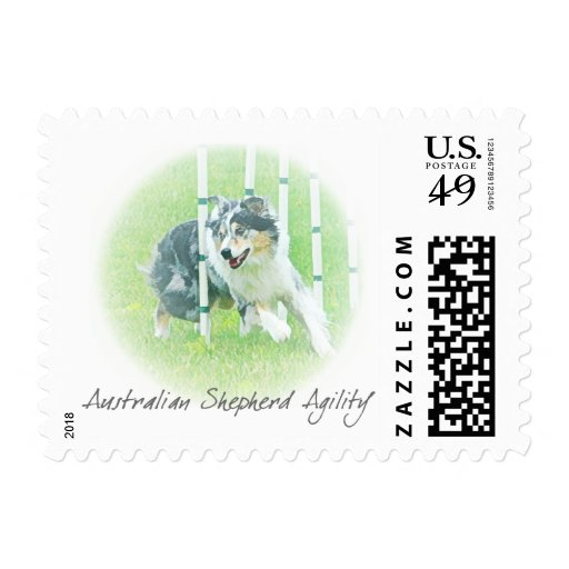 Artwork Australian Shepherd Agility Postage Stamps