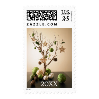 Artwork composed from dried tree branch postage