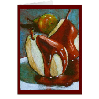 Artwork of Pears with Chocolate Sauce Card