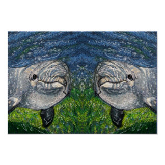 Artwork of Two Dolphins Swimming Under Water Poster