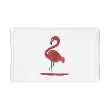 Artwork Original Pink Flamingo with Flair - Ginger Acrylic Tray