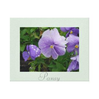 Artwork Pansy Flower Decor Purple Green