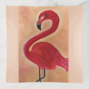 Beach Themed Artwork Pink Flamingo with Flair Trinket Trays