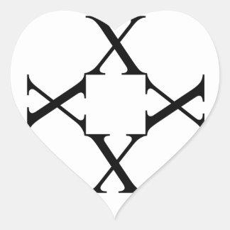 Artwork with alphabet X Heart Sticker