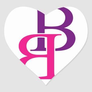 Artwork with B in pink and purple Heart Sticker