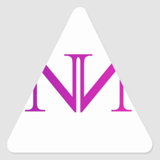 Artwork with two alphabet N in pink Triangle Sticker