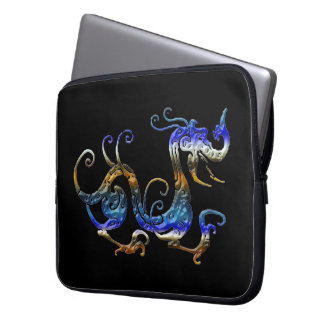 Arty 3D-look Asian Dragon on Black Laptop Sleeve