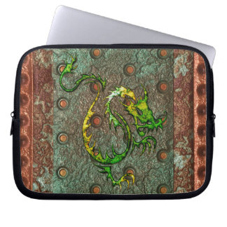 Arty 3D-look Asian Dragon on Metal Laptop Sleeve