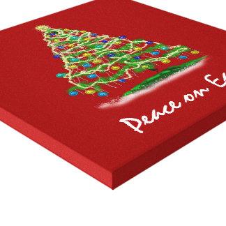 Arty Abstract Christmas Tree on Christmas Red Canvas Print