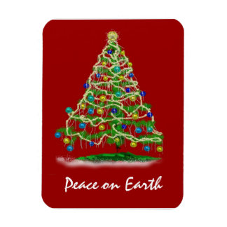 Arty Abstract Christmas Tree on Christmas Red Magnet