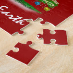 Arty Abstract Christmas Tree on Christmas Red Puzzle