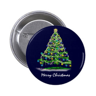 Arty Abstract Christmas Tree on Midnight Blue 2 Inch Round Button