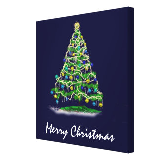 Arty Abstract Christmas Tree on Midnight Blue Canvas Print