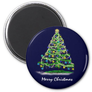 Arty Abstract Christmas Tree on Midnight Blue Magnet