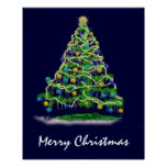 Arty Abstract Christmas Tree on Midnight Blue Poster