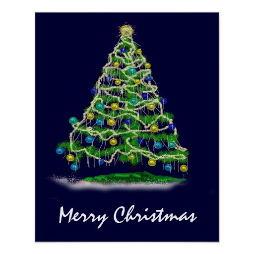 Arty Abstract Christmas Tree on Midnight Blue Posters