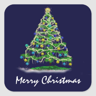 Arty Abstract Christmas Tree on Midnight Blue Square Sticker