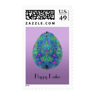 Arty Abstract Easter Egg in Blues and Greens Postage