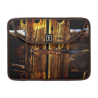 Arty Antique Rustic Wood & Iron Metal Latch Sleeves For MacBooks