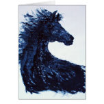 Arty Black Horse Greetings Card