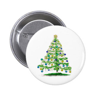 Arty but Simple Christmas Tree Abstract 2 Inch Round Button