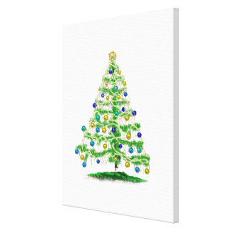Arty but Simple Christmas Tree Abstract Canvas Print