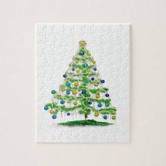 Arty but Simple Christmas Tree Abstract Jigsaw Puzzle