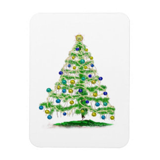 Arty but Simple Christmas Tree Abstract Magnet