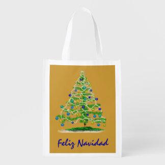 Arty Christmas Tree Reusable Grocery Bag