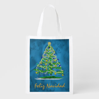 Arty Christmas Tree with Abstract Background Grocery Bags