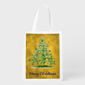 Arty Christmas Tree with Gold Abstract Background Reusable Grocery Bag