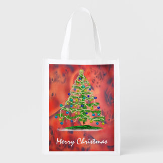 Arty Christmas Tree with Red Abstract Background Market Totes